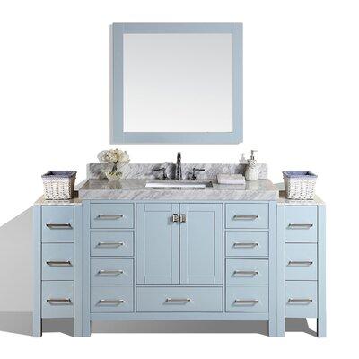 Malibu 72 Single Modern Bathroom Vanity with Mirror Base Finish: Gray