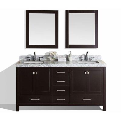 Malibu 61 Double Modern Bathroom Vanity with Mirror Base Finish: Espresso