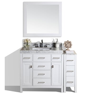 Malibu 41 Single Modern Bathroom Vanity with Mirror Base Finish: White