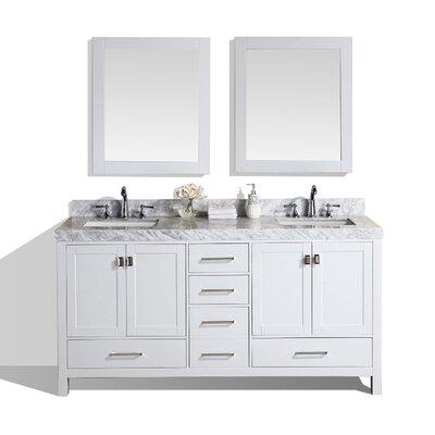 Malibu 61 Double Modern Bathroom Vanity with Mirror Base Finish: White