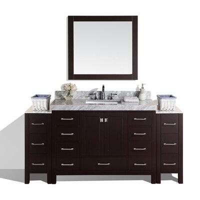 Malibu 72 Single Modern Bathroom Vanity with Mirror Base Finish: Espresso