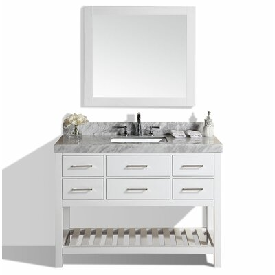 Laguna 49 Single Modern Bathroom Vanity Set with Mirror Base Finish: White