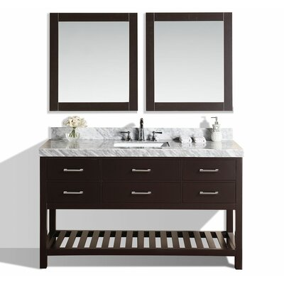 Laguna 61 Single Modern Bathroom Vanity with Mirror Base Finish: Espresso