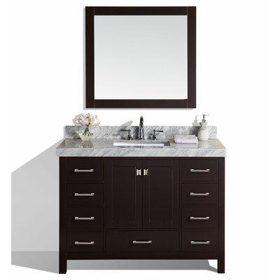 Malibu 49 Single Modern Bathroom Vanity with Mirror Base Finish: Espresso
