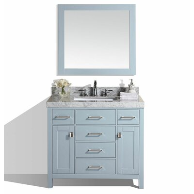 Malibu 41 Single Modern Bathroom Vanity with Mirror Base Finish: Gray