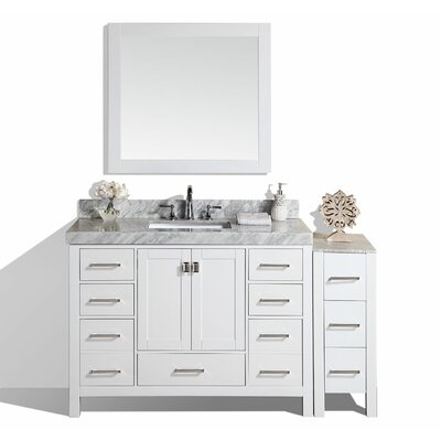 Laub 60 Single Modern Bathroom Vanity with Mirror Base Finish: White