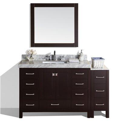 Malibu 60 Single Modern Bathroom Vanity with Mirror Base Finish: Espresso