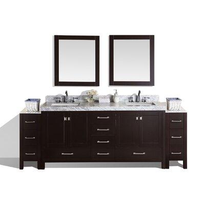 Malibu 84 Double Modern Bathroom Vanity with Mirror Base Finish: Espresso