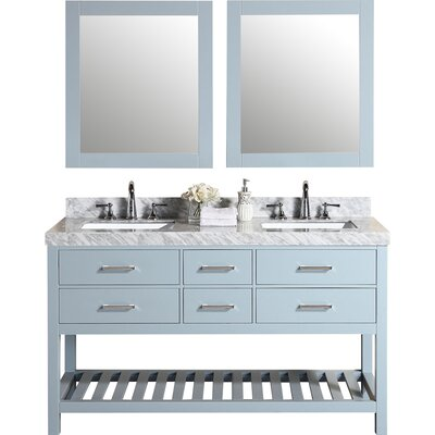 Laguna 61 Double Modern Bathroom Vanity with Mirror Base Finish: Gray