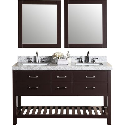 Laguna 61 Double Modern Bathroom Vanity with Mirror Base Finish: Espresso