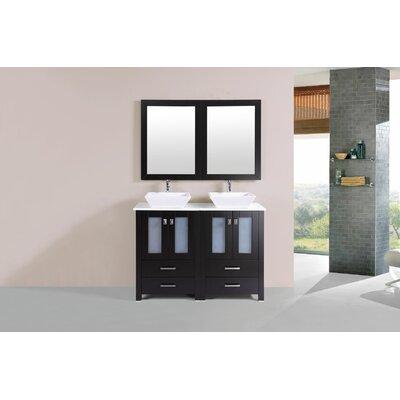 Lyn Modern 48 Double Bathroom Vanity Set Base Finish: Espresso
