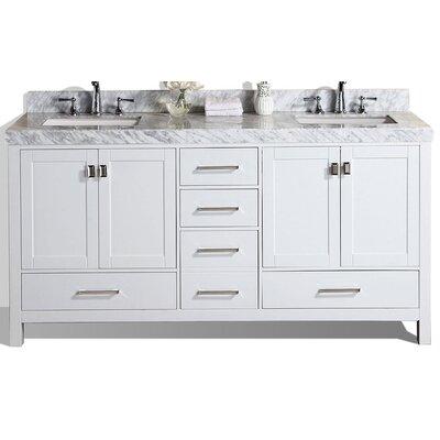 Malibu 61 Double Modern Bathroom Vanity Set Base Finish: White