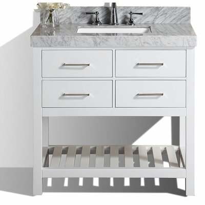 Laguna 41 Single Modern Bathroom Vanity Set Base Finish: White