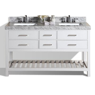 Laguna 61 Double Modern Bathroom Vanity Set Base Finish: White