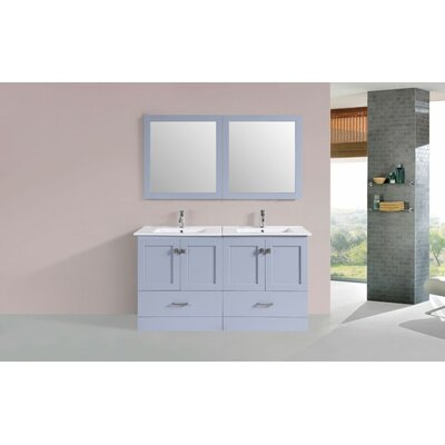 Landrum Modern 60 Double Bathroom Vanity Set Base Finish: Gray