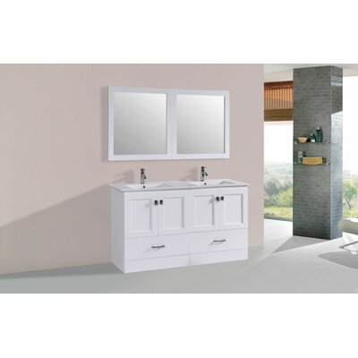 Luci Modern 60 Double Bathroom Vanity Set Base Finish: White