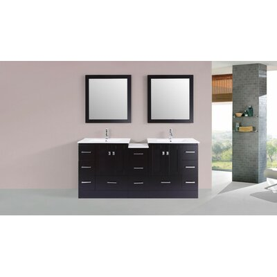 Luci Modern 72 Double Bathroom Vanity Set Base Finish: Espresso