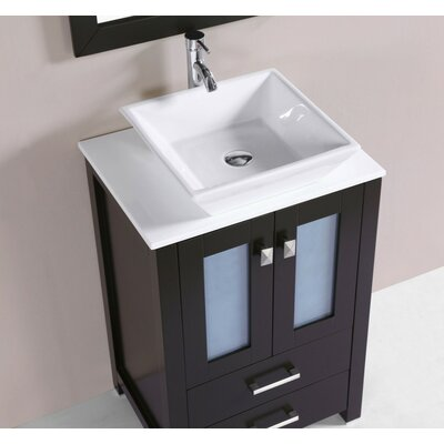 Lyn Modern 24 Single Bathroom Vanity Set Base Finish: Espresso