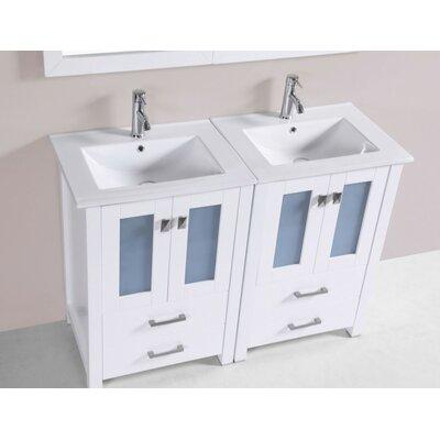 Lyn Modern 48 Double Bathroom Vanity Set Base Finish: White