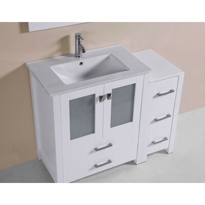 Lyn Modern 42 Single Bathroom Vanity Set Base Finish: White