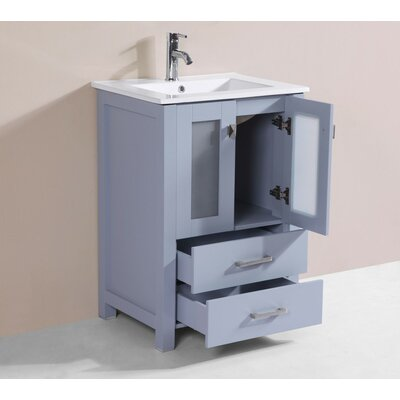 Lapp 24 Gray Single Modern Bathroom Vanity with Integrated Sink