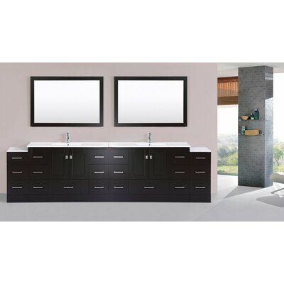 Luci Modern 120 Double Bathroom Vanity Set with Mirror Base Finish: Espresso