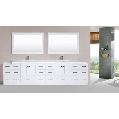 Luci Modern 120 Double Bathroom Vanity Set with Mirror Base Finish: White