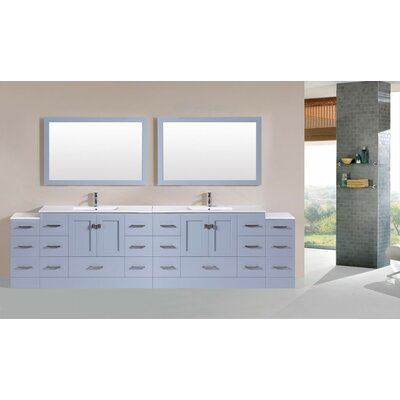 Luci Modern 120 Double Bathroom Vanity Set with Mirror Base Finish: Gray