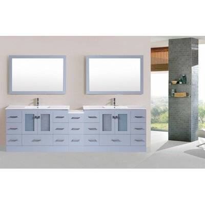 Terese Modern 108 Double Bathroom Vanity with Mirror Base Finish: Gray