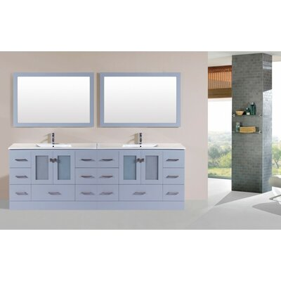 Terese Modern 96 Double Bathroom Vanity Set with Mirror Base Finish: Gray