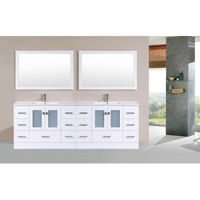 Terese Modern 96 Double Bathroom Vanity Set Base Finish: White