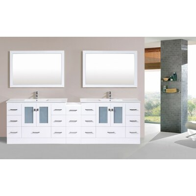 Terese Modern 108 Double Bathroom Vanity with Mirror Base Finish: White