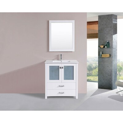 Lyn Modern 30 Single Bathroom Vanity Set with Mirror Base Finish: White