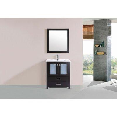 Lyn Modern 30 Single Bathroom Vanity Set with Mirror Base Finish: Espresso