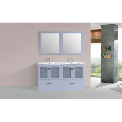 Lapoint Modern 60 Double Bathroom Vanity Set with Mirror Base Finish: Gray