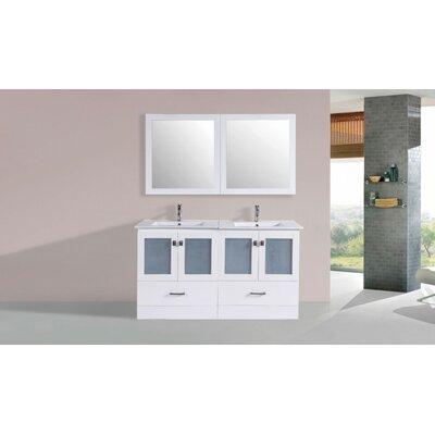 Terese Modern 60 Double Bathroom Vanity Set with Mirror Base Finish: White