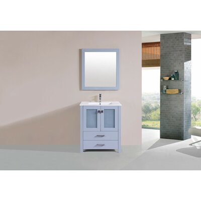 Lyn Modern 30 Single Bathroom Vanity Set with Mirror Base Finish: Gray