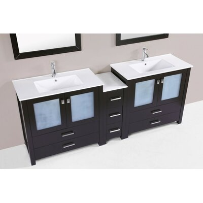 Lyn Modern 83 Double Bathroom Vanity Set Base Finish: Espresso