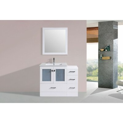 Terese Modern 42 Single Bathroom Vanity Set with Mirror Base Finish: White