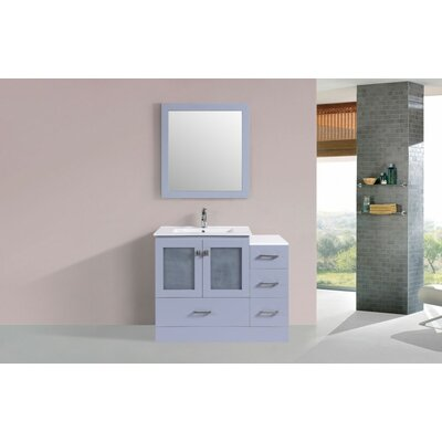 Terese Modern 42 Single Bathroom Vanity Set with Mirror Base Finish: Gray