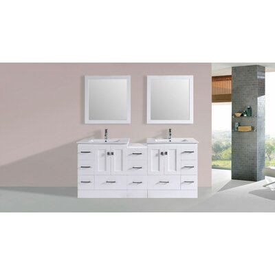 Luci Modern 72 Double Bathroom Vanity Set Base Finish: White