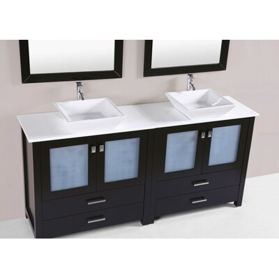 Lyn Modern 72 Double Bathroom Vanity Set Base Finish: Espresso