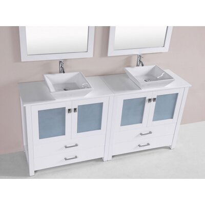 Lyn Modern 72 Double Bathroom Vanity Set Base Finish: White