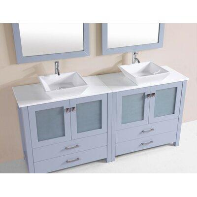 Lyn Modern 72 Double Bathroom Vanity Set Base Finish: Gray
