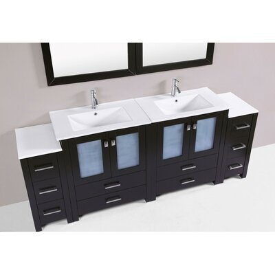 Lyn Modern 84 Double Bathroom Vanity Set Base Finish: Espresso