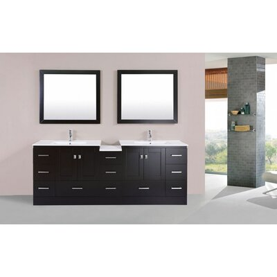 Luci Modern 83 Double Bathroom Vanity Set with Mirror Base Finish: Espresso
