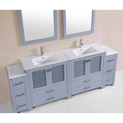 Lyn Modern 84 Double Bathroom Vanity Set Base Finish: Gray