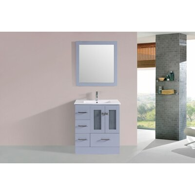 Lapoint Modern 30 Single Bathroom Vanity Set with Mirror Base Finish: Gray