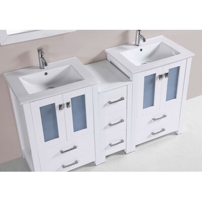 Lyn Modern 60 Double Bathroom Vanity Set Base Finish: White