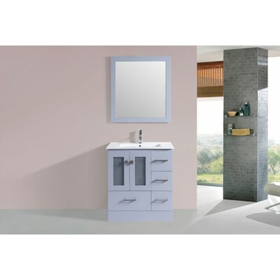 Terese Modern 30 Single Bathroom Vanity Set with Mirror Base Finish: Gray